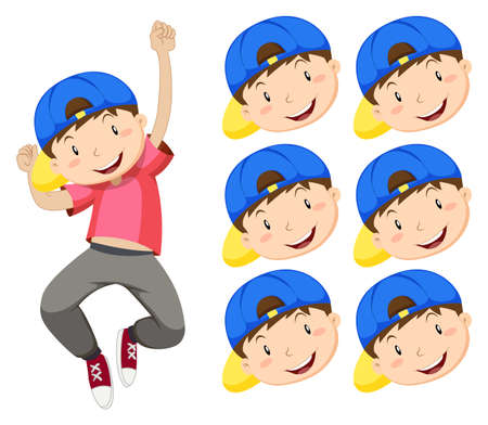 adolescent boy: Boy with blue cap and many expression faces illustration Illustration