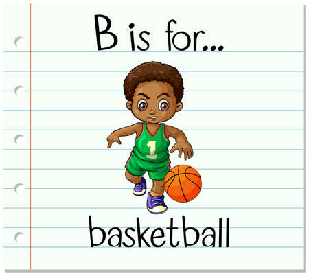 bouncing: Flashcard alphabet B is for basketball illustration