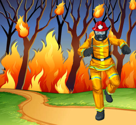 fireman: Fireman at the wild fire scene illustration