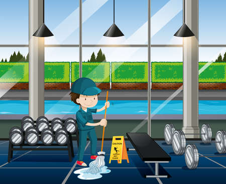 janitor: Janitor cleaning the fitness room illustration Illustration