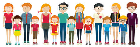 Adults and kids standing illustration