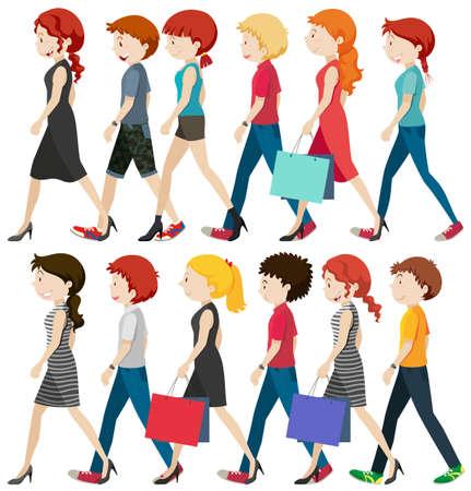 happy people: People walking on the road illustration Illustration