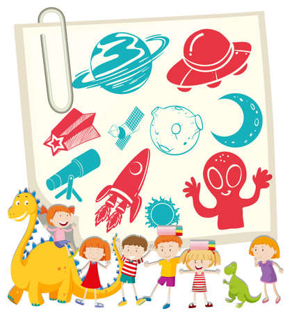 notecard: Children and science symbol on notecard illustration