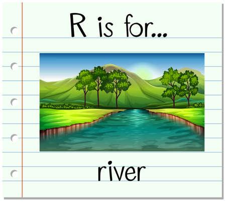 Flashcard letter R is for river illustration