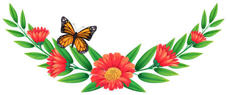 flower decoration: Red flower and butterfly illustration Illustration