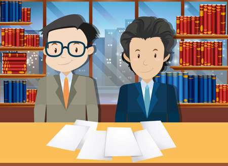 grownup: Businessmen making agreement in office illustration