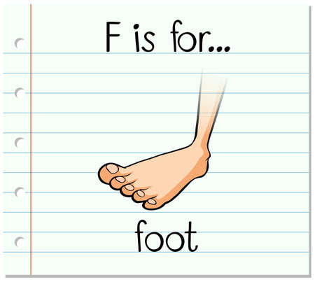 cartoon body: Flashcard letter F is for foot illustration