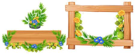 Wooden frames with flowers illustration Vektorové ilustrace