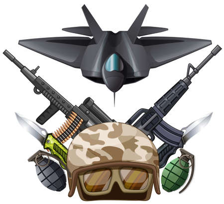 pocket knife: Many kind of weapons and fighting jet illustration Illustration