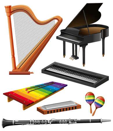 arpa: Diferentes tipos de instrumentos musicales ilustración