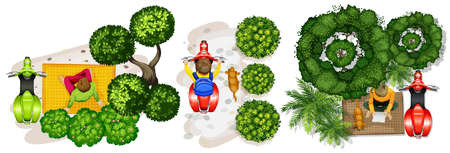 relax garden: Top view of people and scooter illustration Illustration