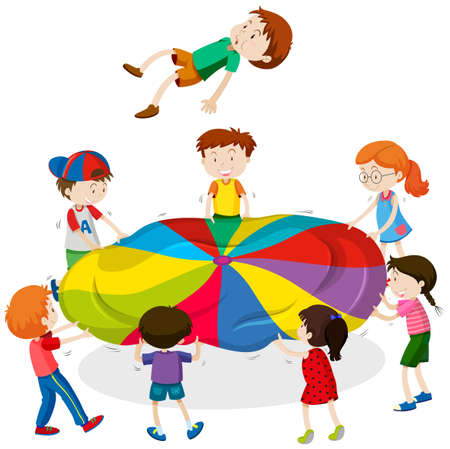 mat: Kids playing bouncing on the mat illustration