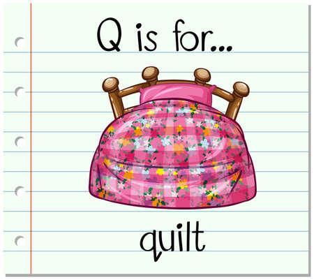 letti: Flashcard alfabeto Q è per trapunta illustrazione