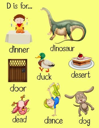 noun: Poster words for letter D illustration Illustration