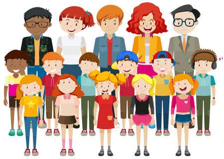grown ups: Simple characters with happy face illustration