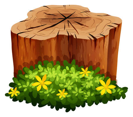 woodpile: Log and green bush illustration