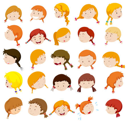 expresiones faciales: Cabeza de una joven con expresiones faciales ilustración