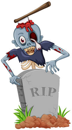 rest in peace: Zombie with axe at the gravestone illustration