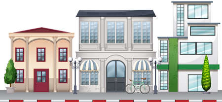 Shops and buildings along the road illustration