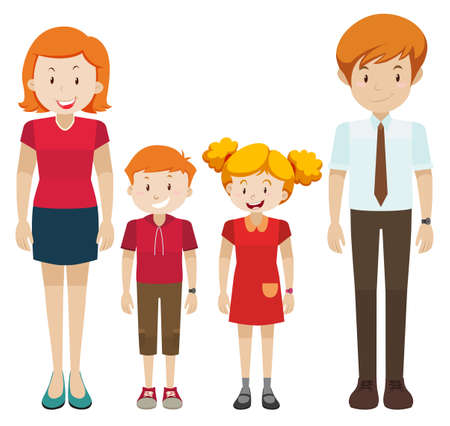 Family with parents and children illustration Иллюстрация