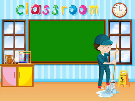 school class: Janitor cleaning the classroom illustration