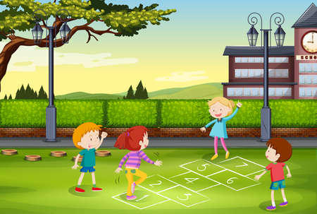 adolescent boy: Children playing hopscotch in the park illustration Illustration