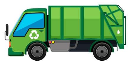 Śmieciarka w zielonym kolorem ilustracji Ilustracje wektorowe