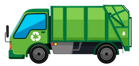 camion à ordures en vert illustration couleur