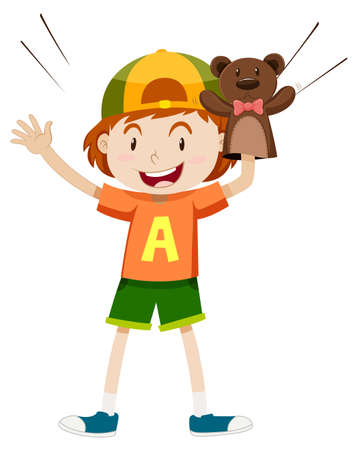 role play: Little boy with bear puppet illustration