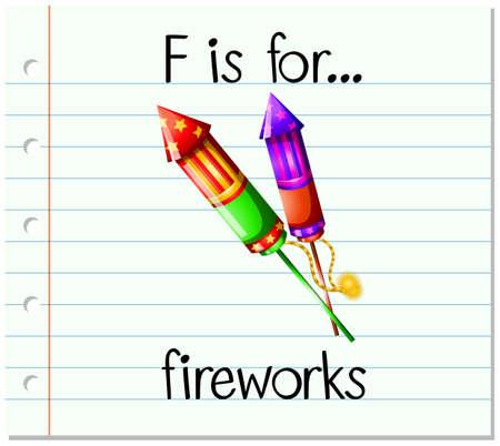 Flashcard letter F is for fireworks illustration