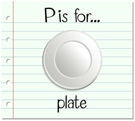 chinaware: Flashcard letter P is for plate illustration