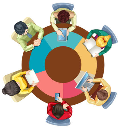 round table: People meeting on the round table illustration Illustration