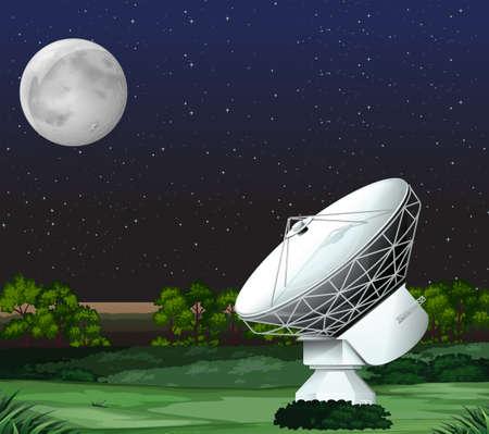 satellite: Satellite on the ground at night illustration Illustration