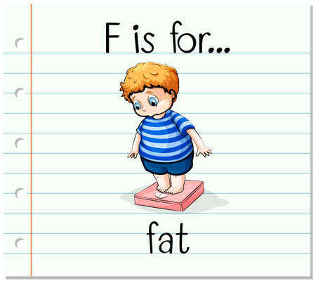 chubby: Flashcard letter F is for fat illustration Illustration