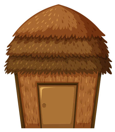 bungalow: Single hut with roof and door illustration Illustration