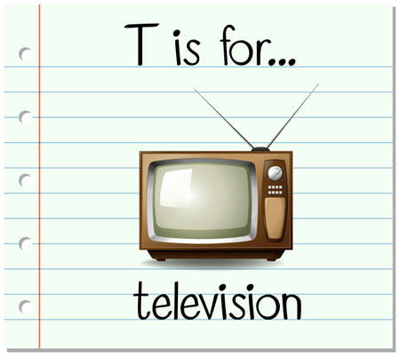 writing equipment: Flashcard letter T is for television illustration
