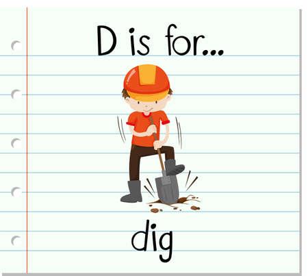 dig: Flashcard letter D is for dig illustration