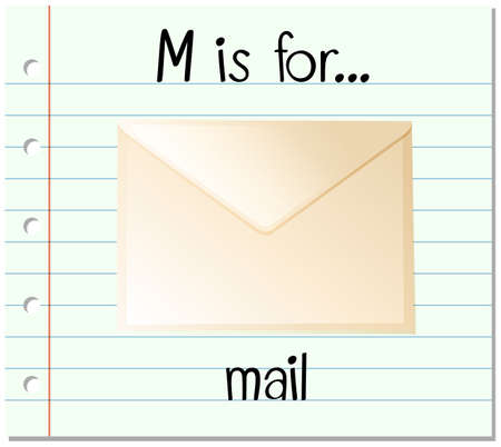 paper spell: Flashcard letter M is for mail illustration