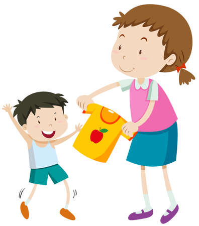 woman white shirt: Mom helping little boy getting dress illustration Illustration