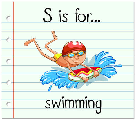 Kartami literę S jest ilustracją do pływania