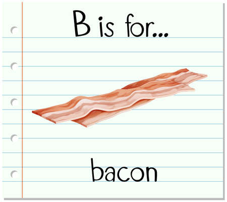 bacon art: Flashcard letter B is for bacon illustration Illustration