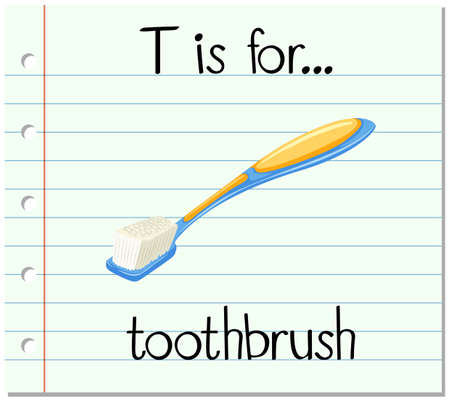 flash card: Flashcard letter T is for toothbrush illustration