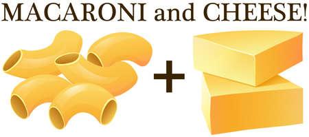 macarrones: Macarrones sin procesar y la ilustración de queso Vectores