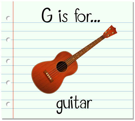 writing instruments: Flashcard letter G is for guitar illustration Illustration