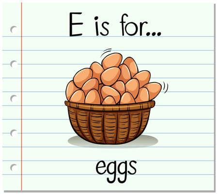 e reading: Flashcard letter E is for eggs illustration