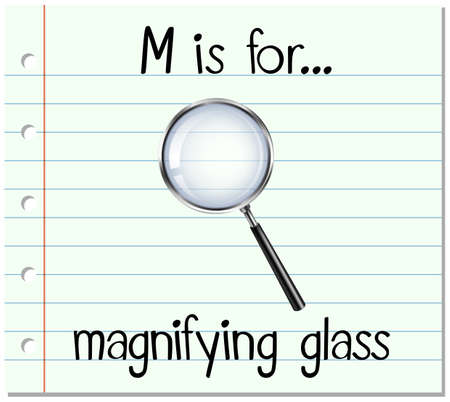 phonetics: Flashcard letter M is for magnifying glass illustration