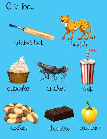 Different words for alphabet C illustration