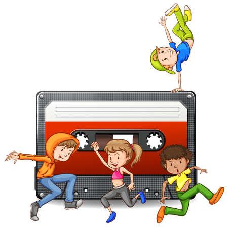 casette: People dancing and casette tape illustration