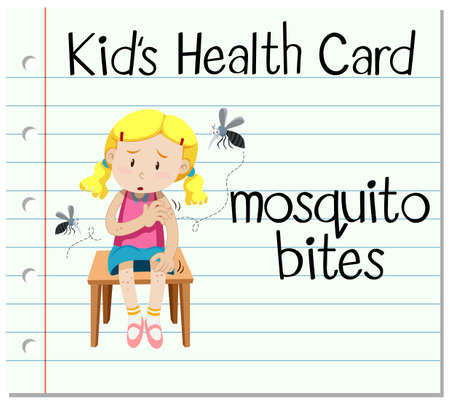bites: Health card with mosquito bites illustration Illustration