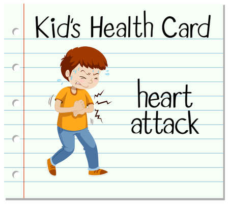 heart attack: Health card with man having heart attack illustration Illustration